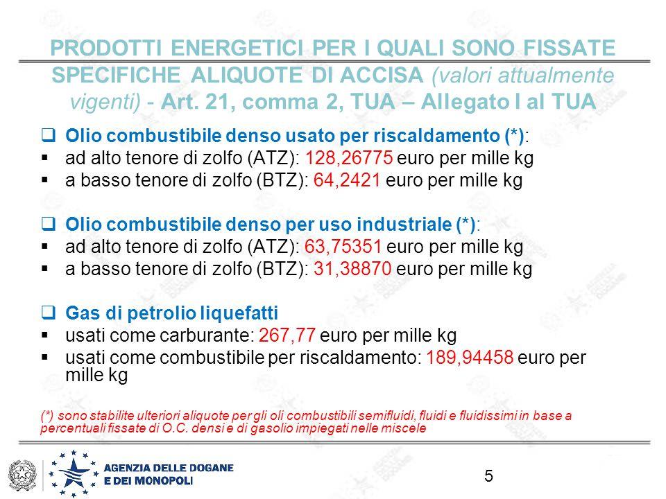 Prodotti energetici per i quali sono fissate specifiche aliquote di accisa (valori attualmente vigenti) - Art. 21, comma 2, TUA – Allegato I al TUA