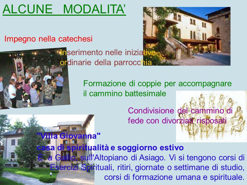 ALCUNE MODALITA' Impegno nella catechesi. Inserimento nelle iniziative ordinarie della parrocchia.
