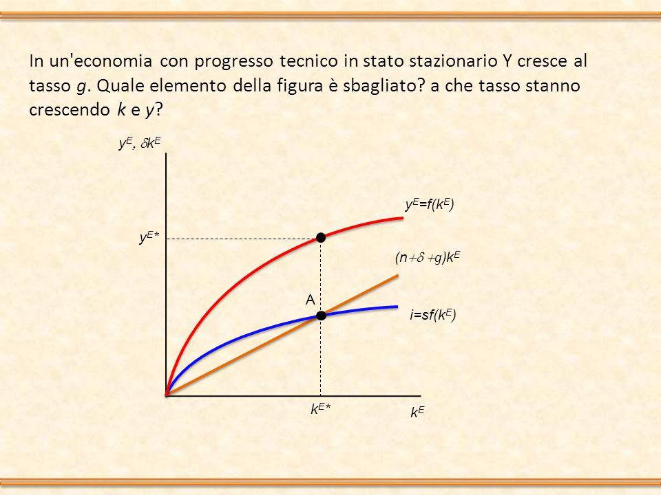 In un economia con progresso tecnico in stato stazionario Y cresce al tasso g. Quale elemento della figura è sbagliato a che tasso stanno crescendo k e y