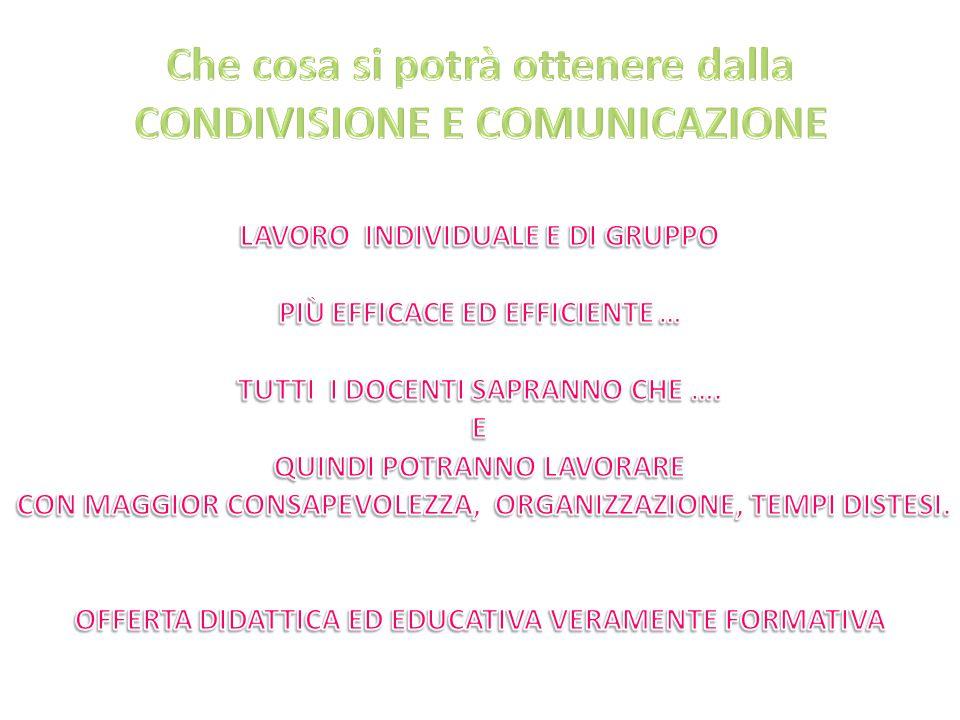 Che cosa si potrà ottenere dalla CONDIVISIONE E COMUNICAZIONE