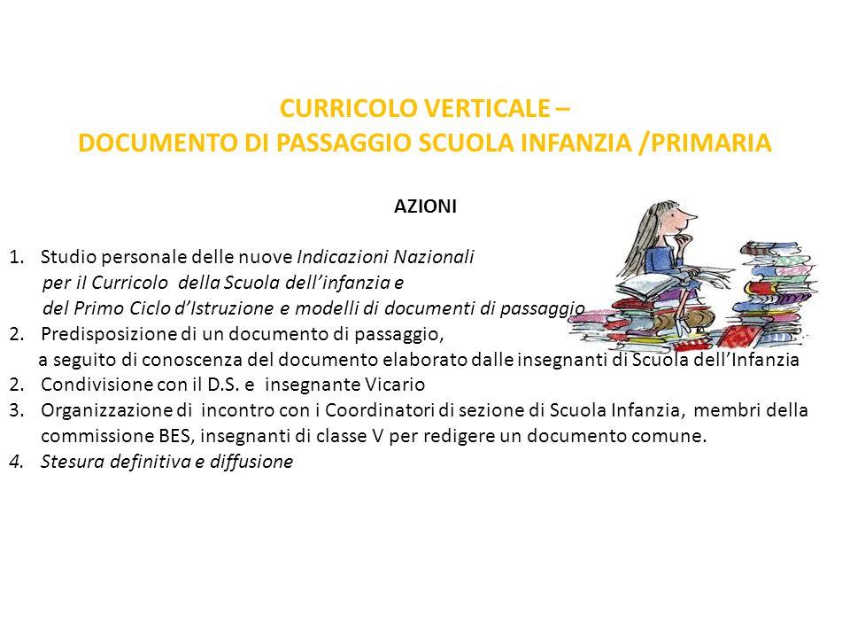 DOCUMENTO DI PASSAGGIO SCUOLA INFANZIA /PRIMARIA
