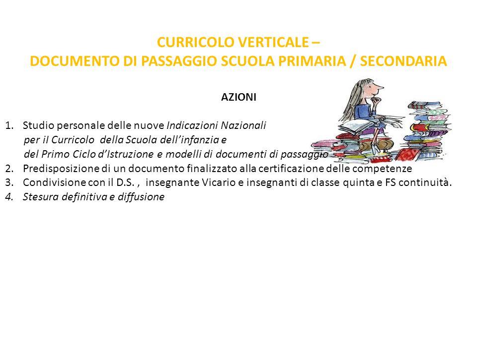 DOCUMENTO DI PASSAGGIO SCUOLA PRIMARIA / SECONDARIA