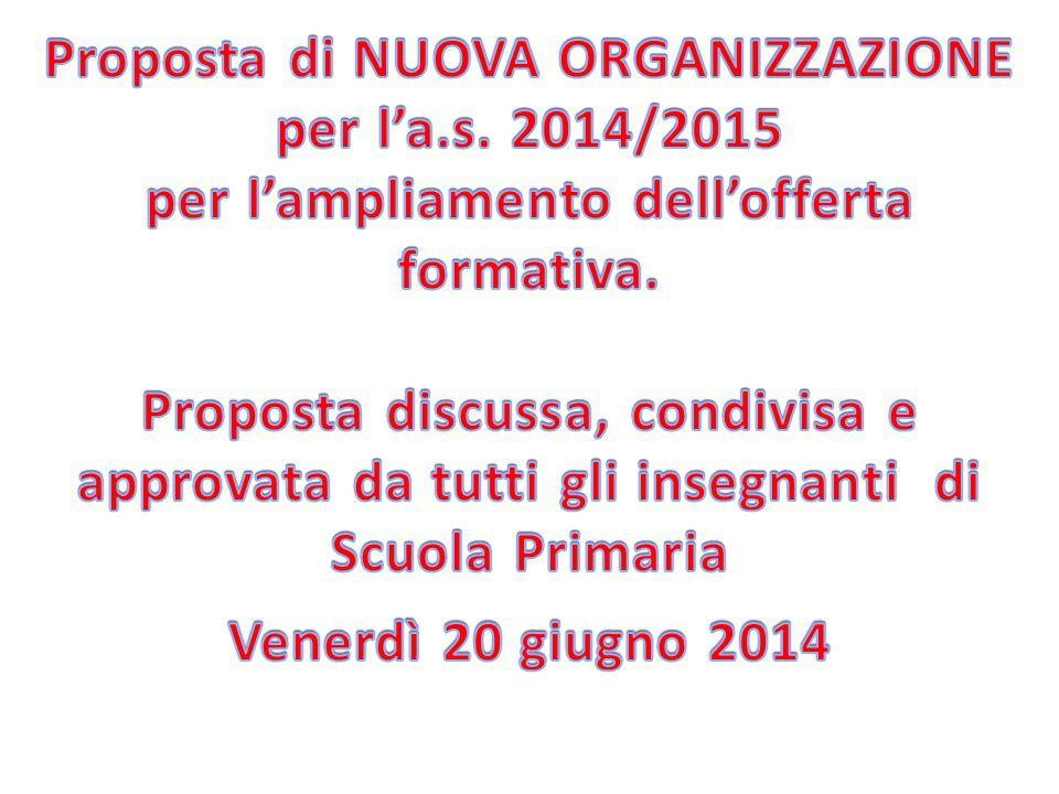 Proposta di NUOVA ORGANIZZAZIONE per l'a.s. 2014/2015