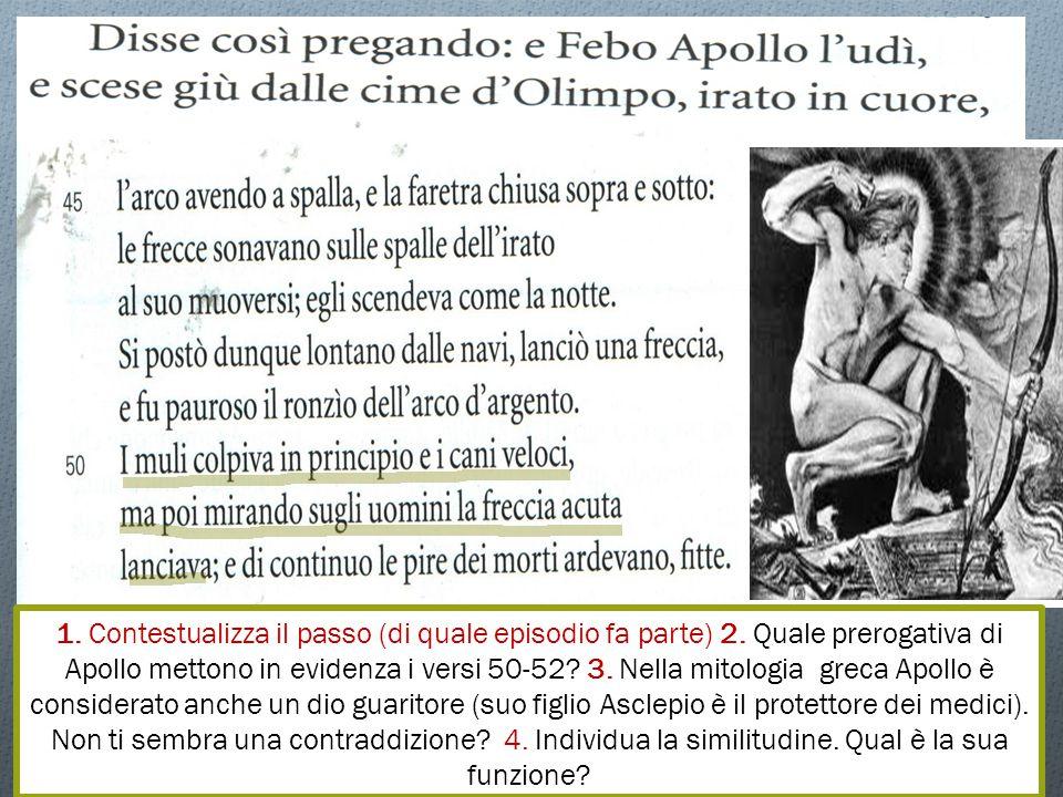 1. La potenza distruttiva di Apollo, di annientare qualsiasi forma di vita: non solo gli uomini, ma anche gli animali. 3. La notte evoca il silenzio e anche la paura. Viene esaltata così la minacciosità dell'incedere di Apollo, del suono delle sue frecce. La notte, inoltre, evoca la morte: Apollo è pronto a seminare morte.