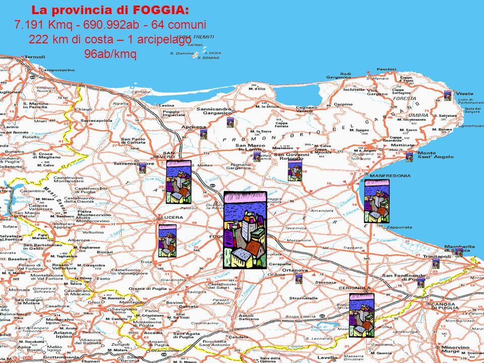 La provincia di FOGGIA: 7. 191 Kmq - 690