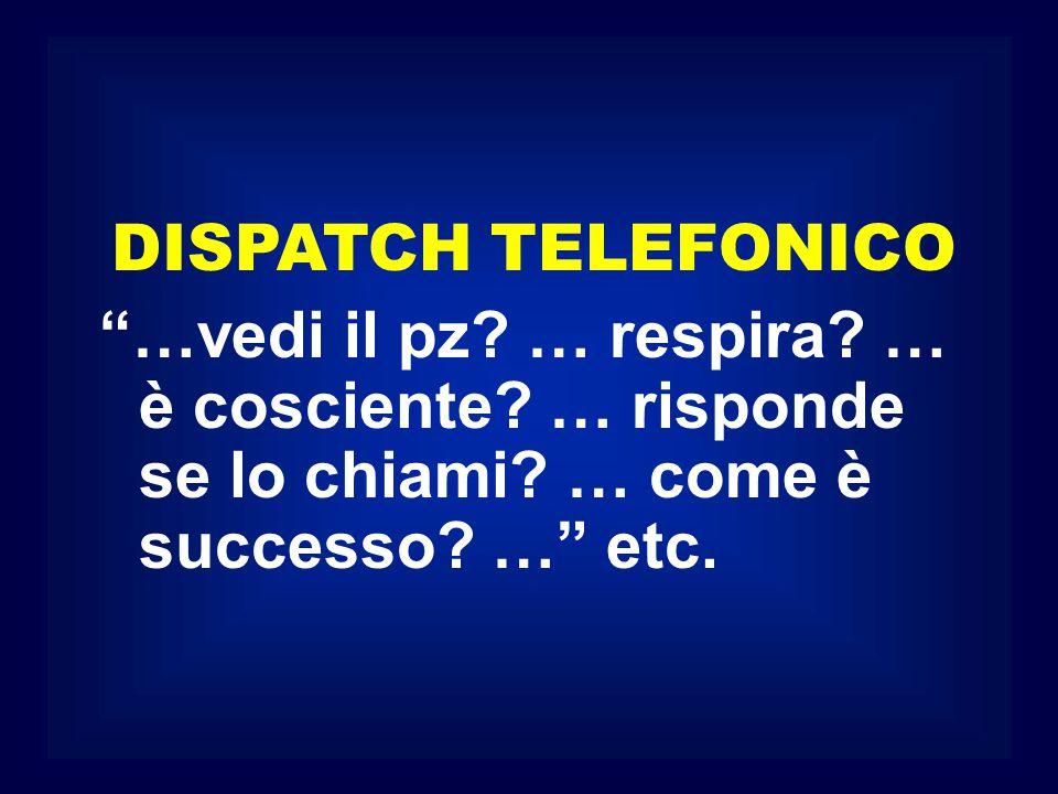 DISPATCH TELEFONICO …vedi il pz. … respira. … è cosciente.