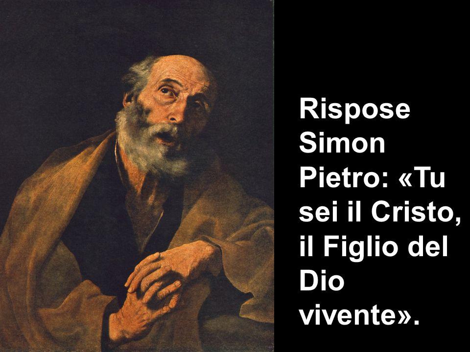 Rispose Simon Pietro: «Tu sei il Cristo, il Figlio del Dio vivente».