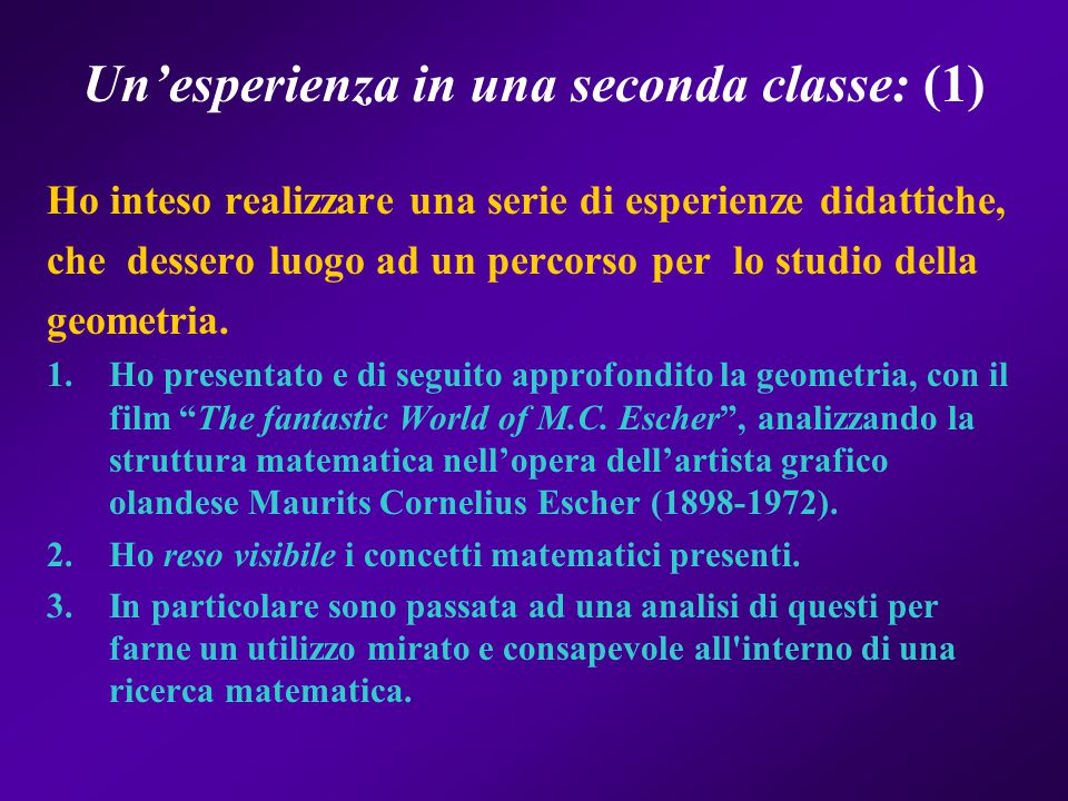 Un'esperienza in una seconda classe: (1)