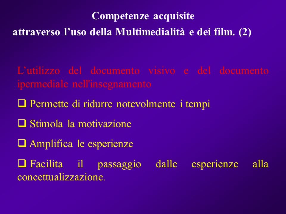 Competenze acquisite attraverso l'uso della Multimedialità e dei film. (2)