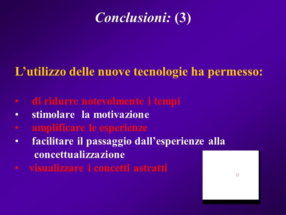 Conclusioni: (3) L'utilizzo delle nuove tecnologie ha permesso: