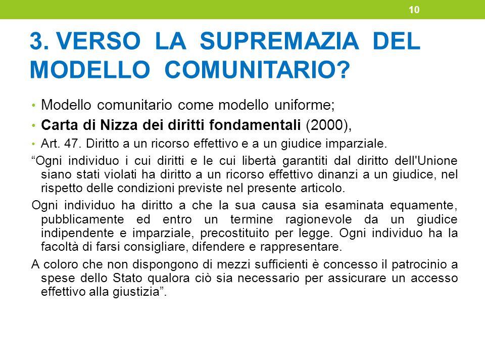 3. VERSO LA SUPREMAZIA DEL MODELLO COMUNITARIO