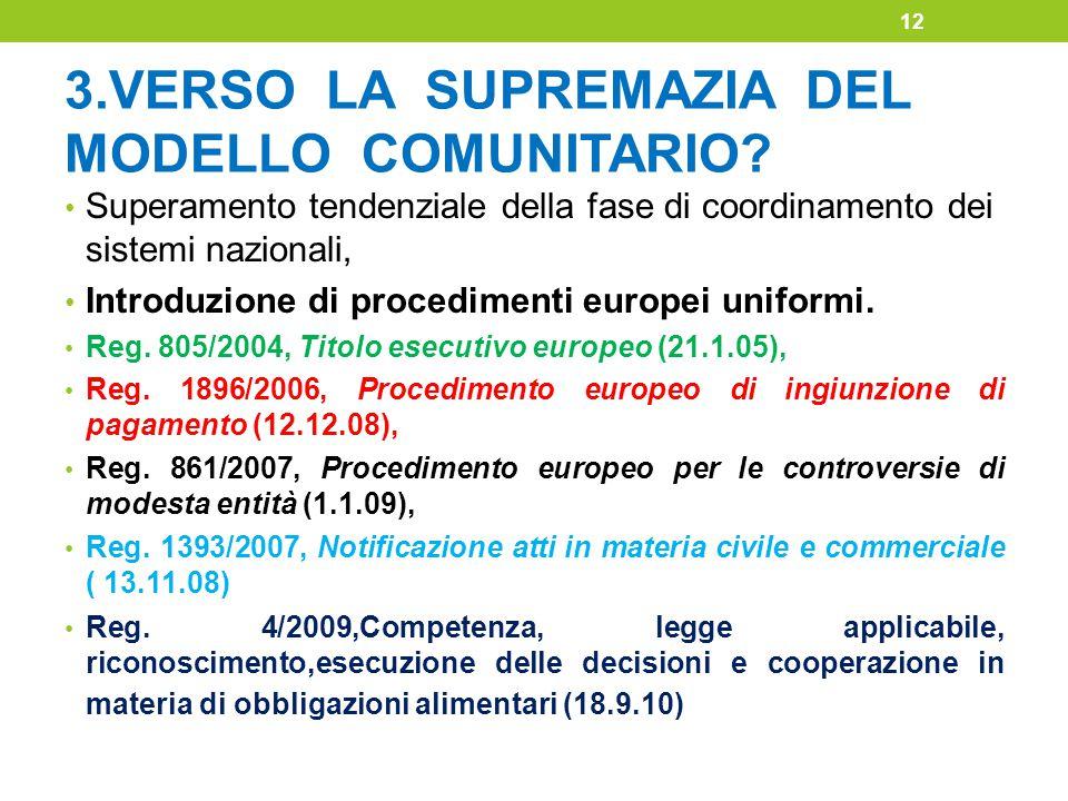 3.VERSO LA SUPREMAZIA DEL MODELLO COMUNITARIO