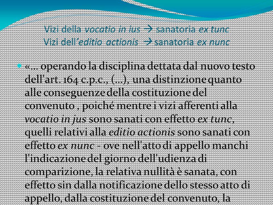 1616 Vizi della vocatio in ius  sanatoria ex tunc Vizi dell'editio actionis  sanatoria ex nunc.