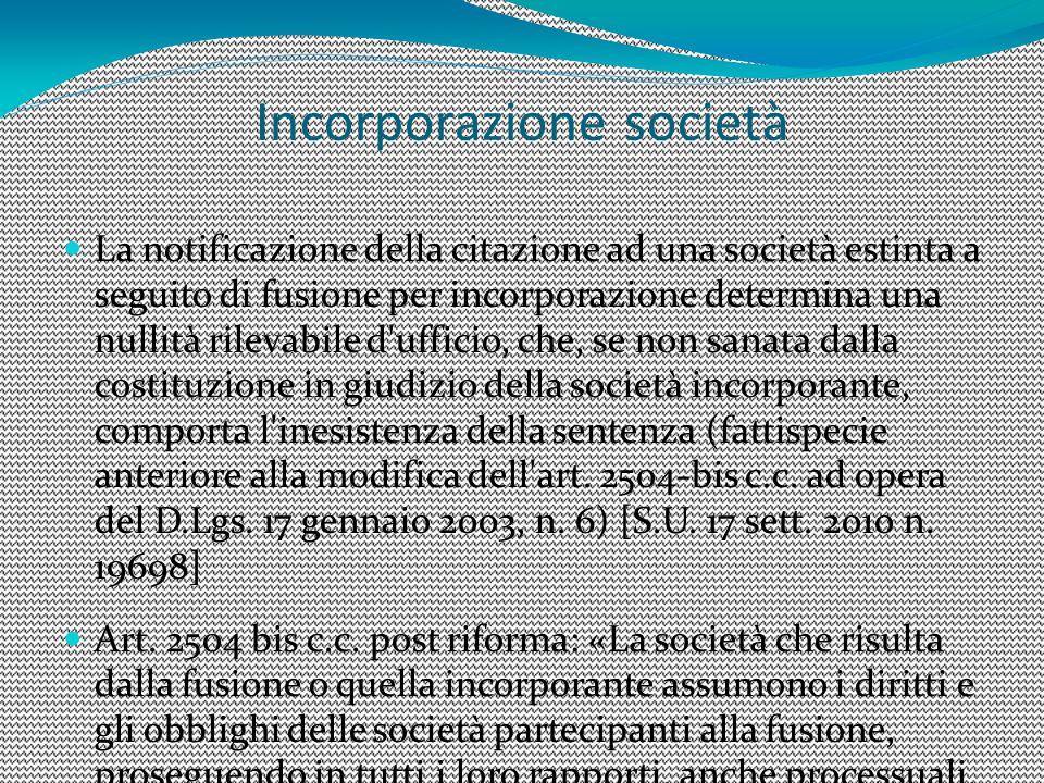 Incorporazione società
