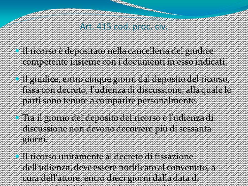6 Art. 415 cod. proc. civ. Il ricorso è depositato nella cancelleria del giudice competente insieme con i documenti in esso indicati.