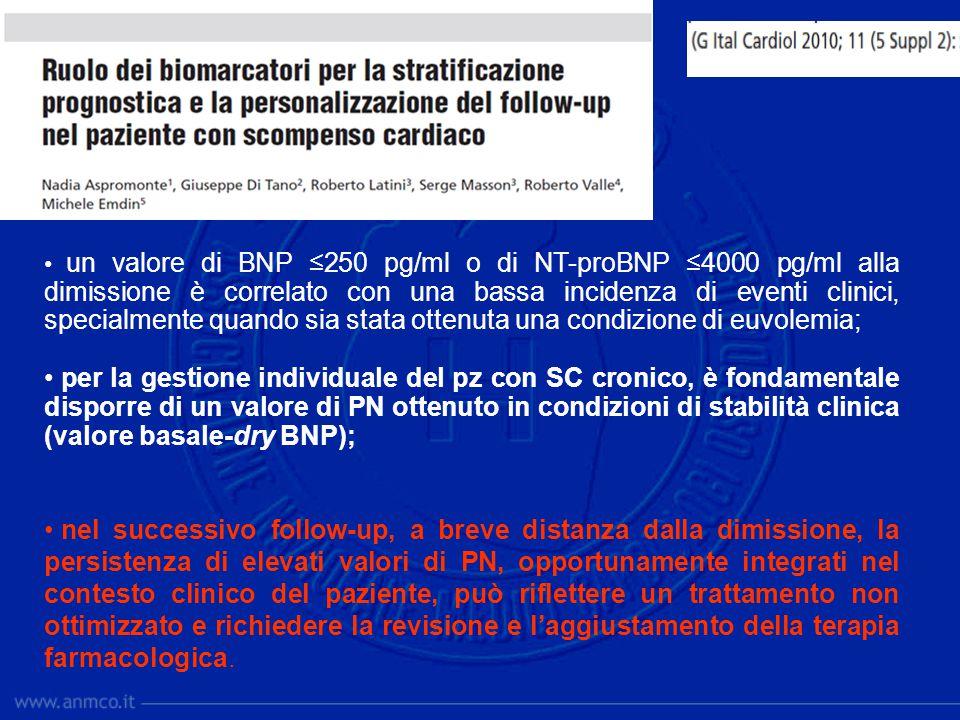 un valore di BNP ≤250 pg/ml o di NT-proBNP ≤4000 pg/ml alla dimissione è correlato con una bassa incidenza di eventi clinici, specialmente quando sia stata ottenuta una condizione di euvolemia;
