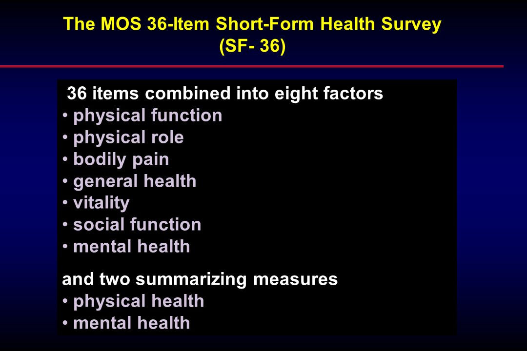The MOS 36-Item Short-Form Health Survey