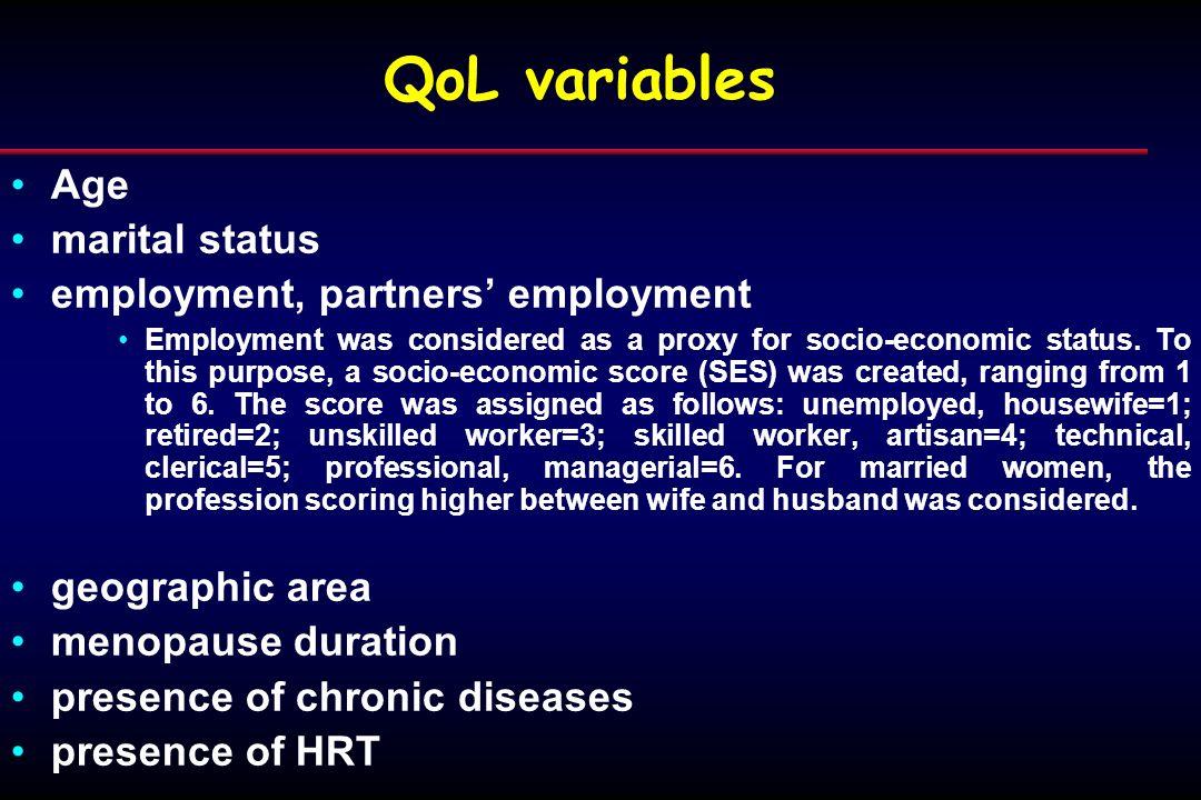 QoL variables Age marital status employment, partners' employment