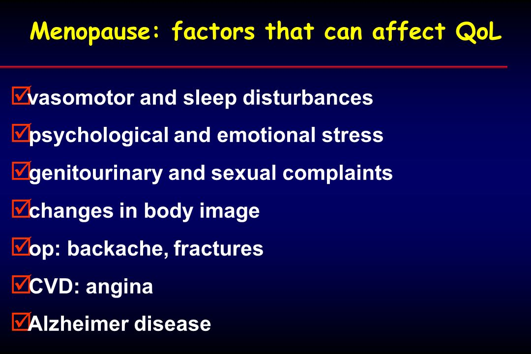 Menopause: factors that can affect QoL