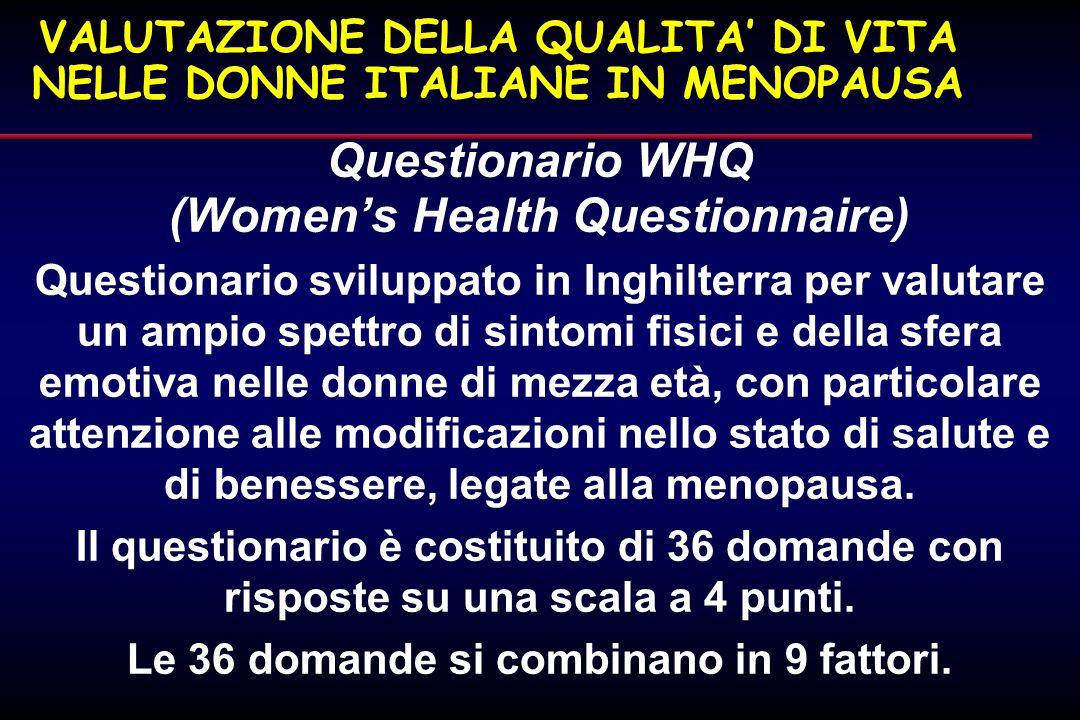VALUTAZIONE DELLA QUALITA' DI VITA NELLE DONNE ITALIANE IN MENOPAUSA