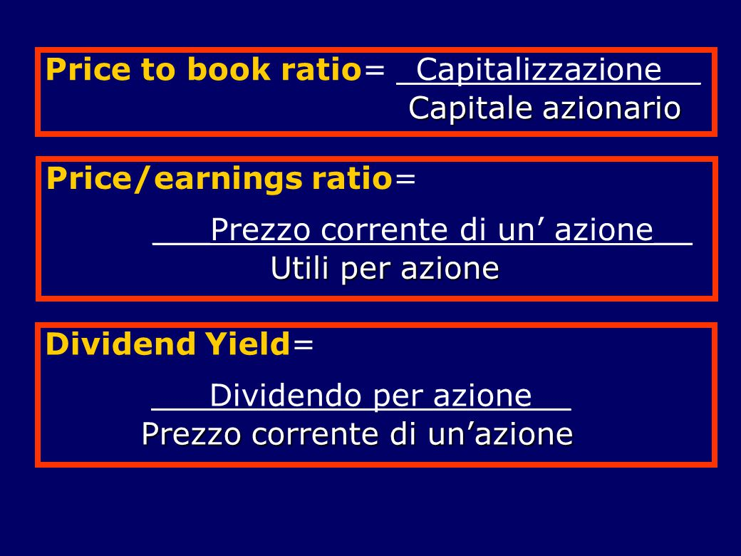 Price to book ratio= _Capitalizzazione__