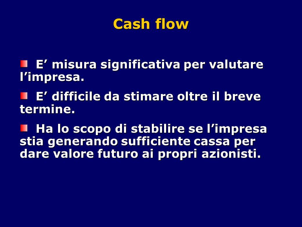Cash flow E' misura significativa per valutare l'impresa.