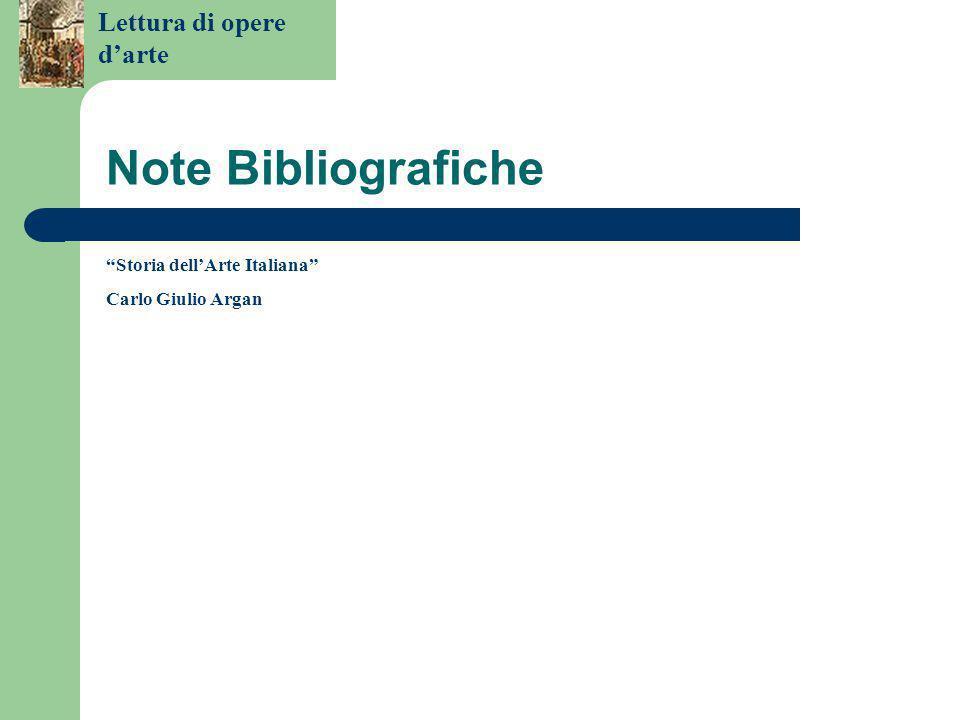 Note Bibliografiche Storia dell'Arte Italiana Carlo Giulio Argan