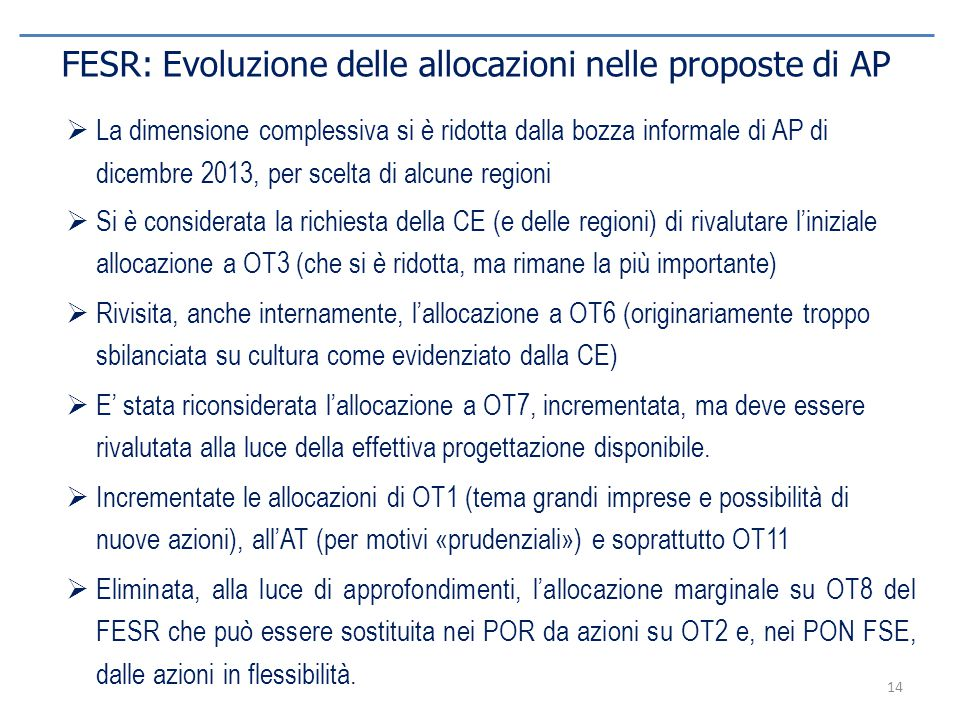 FESR: Evoluzione delle allocazioni nelle proposte di AP