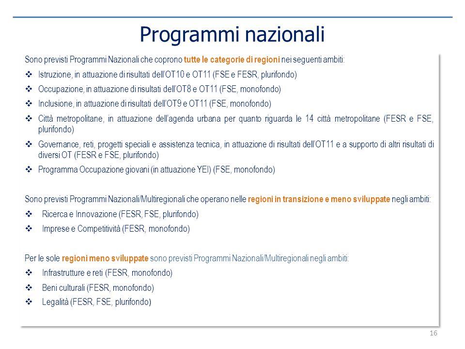 Programmi nazionali Sono previsti Programmi Nazionali che coprono tutte le categorie di regioni nei seguenti ambiti: