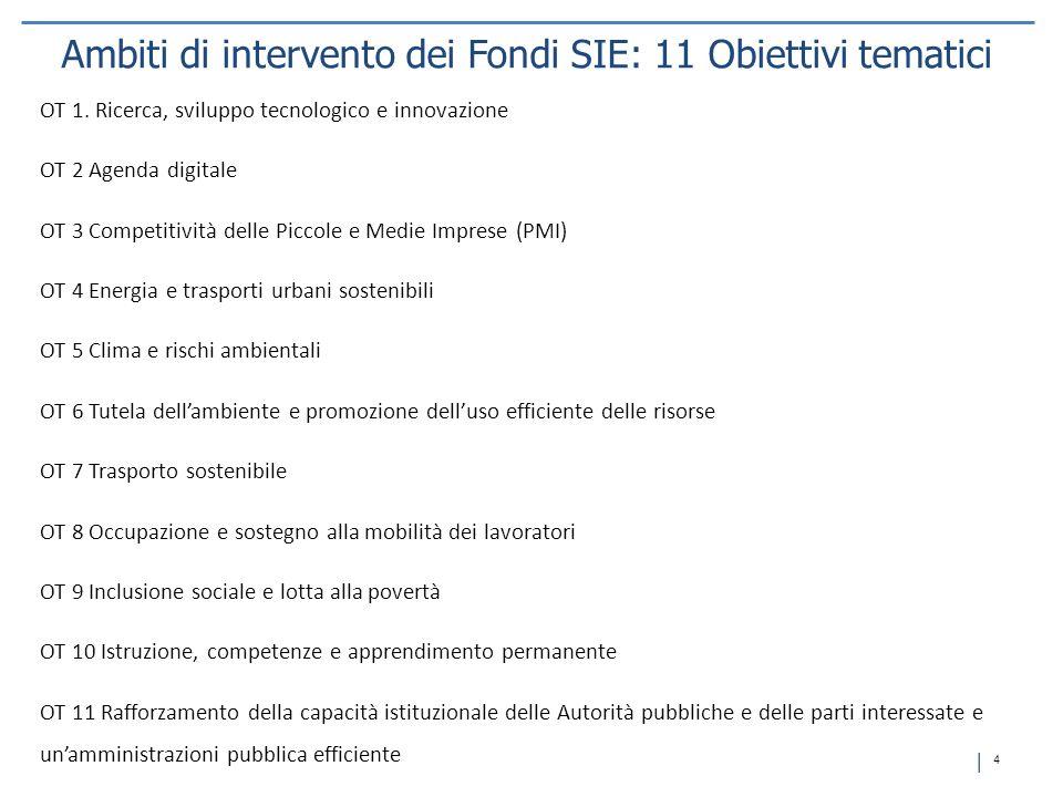 Ambiti di intervento dei Fondi SIE: 11 Obiettivi tematici
