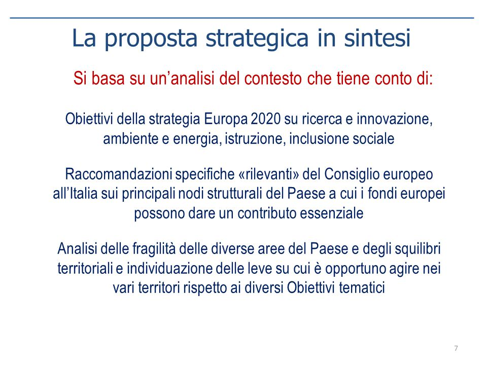 La proposta strategica in sintesi