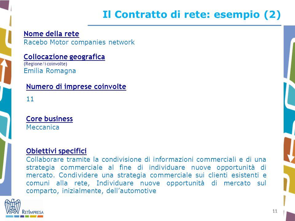 Il Contratto di rete: esempio (2)