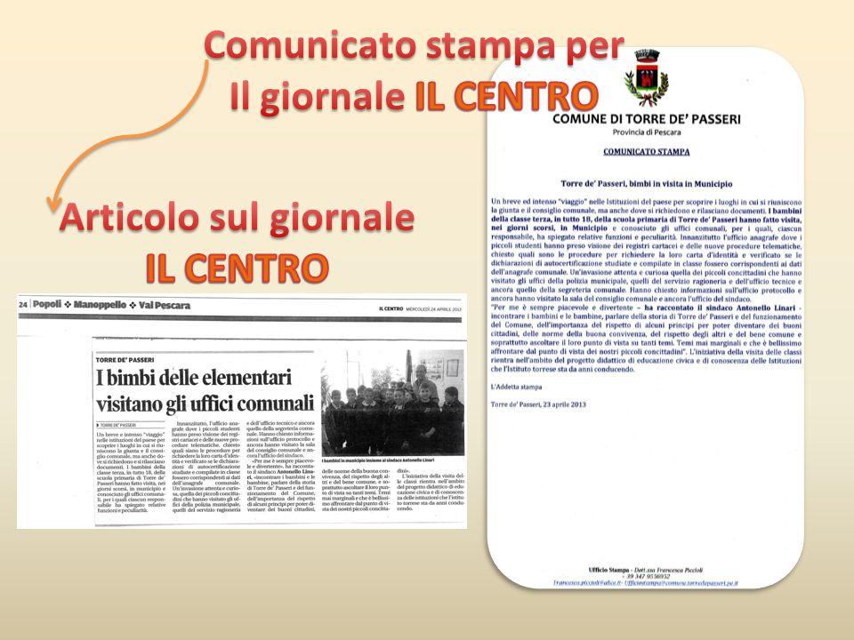 Articolo sul giornale IL CENTRO