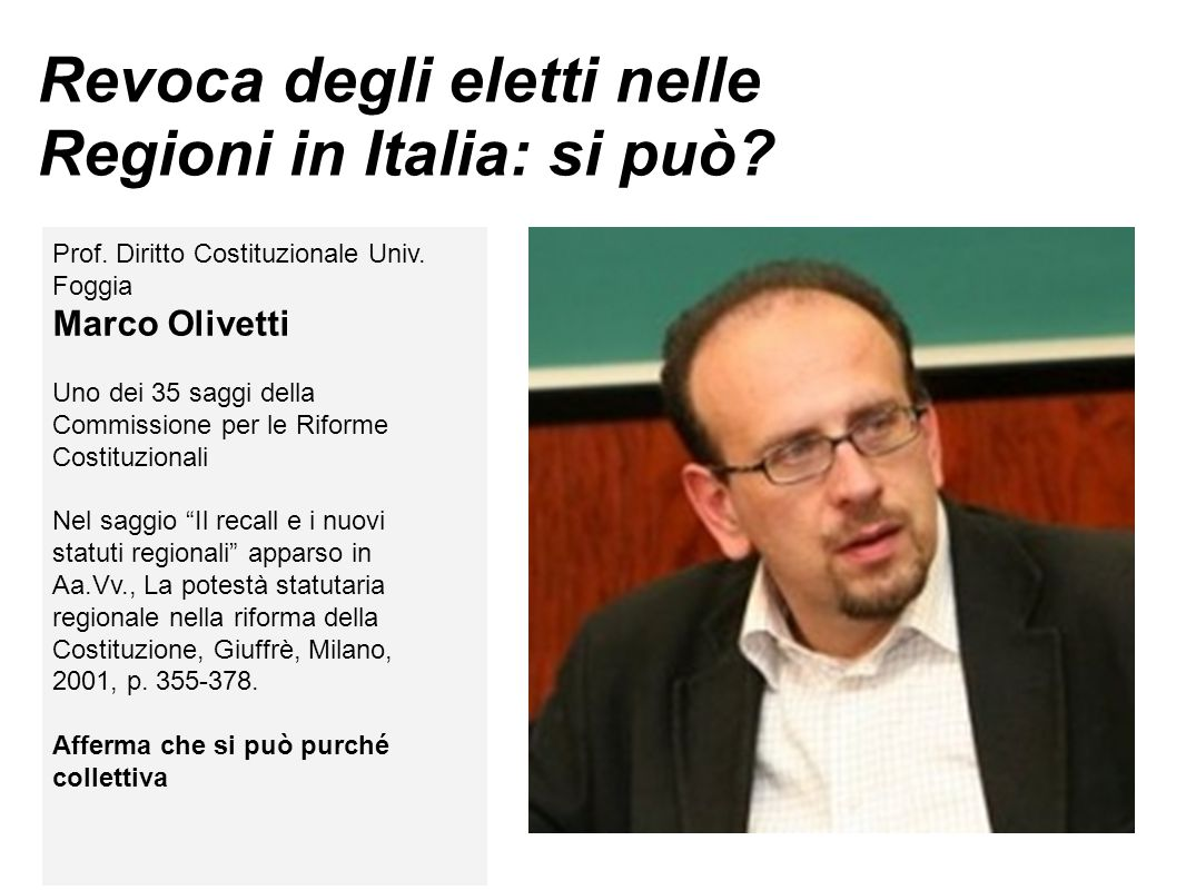 Revoca degli eletti nelle Regioni in Italia: si può