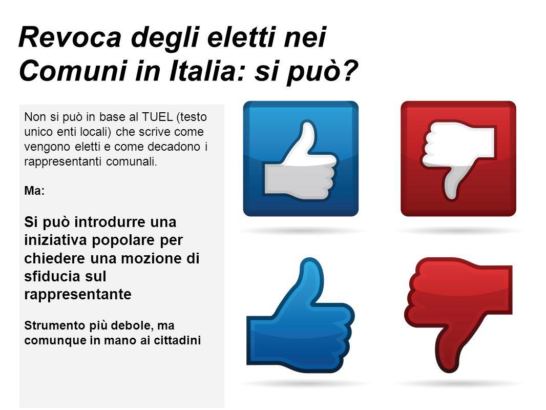 Revoca degli eletti nei Comuni in Italia: si può