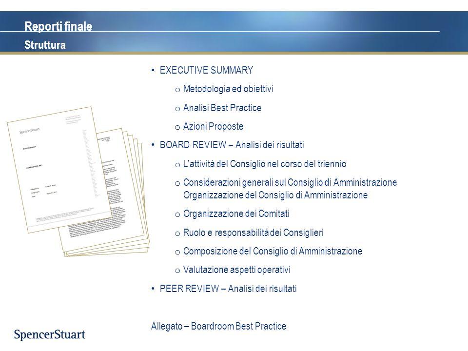 Reporti finale Struttura EXECUTIVE SUMMARY Metodologia ed obiettivi
