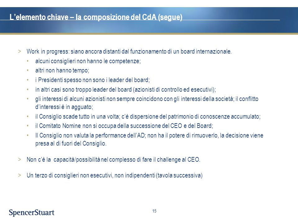 L'elemento chiave – la composizione del CdA (segue)