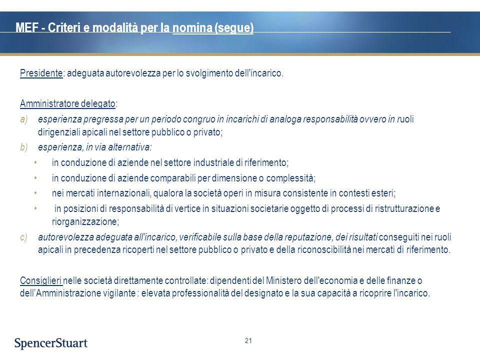 MEF - Criteri e modalità per la nomina (segue)