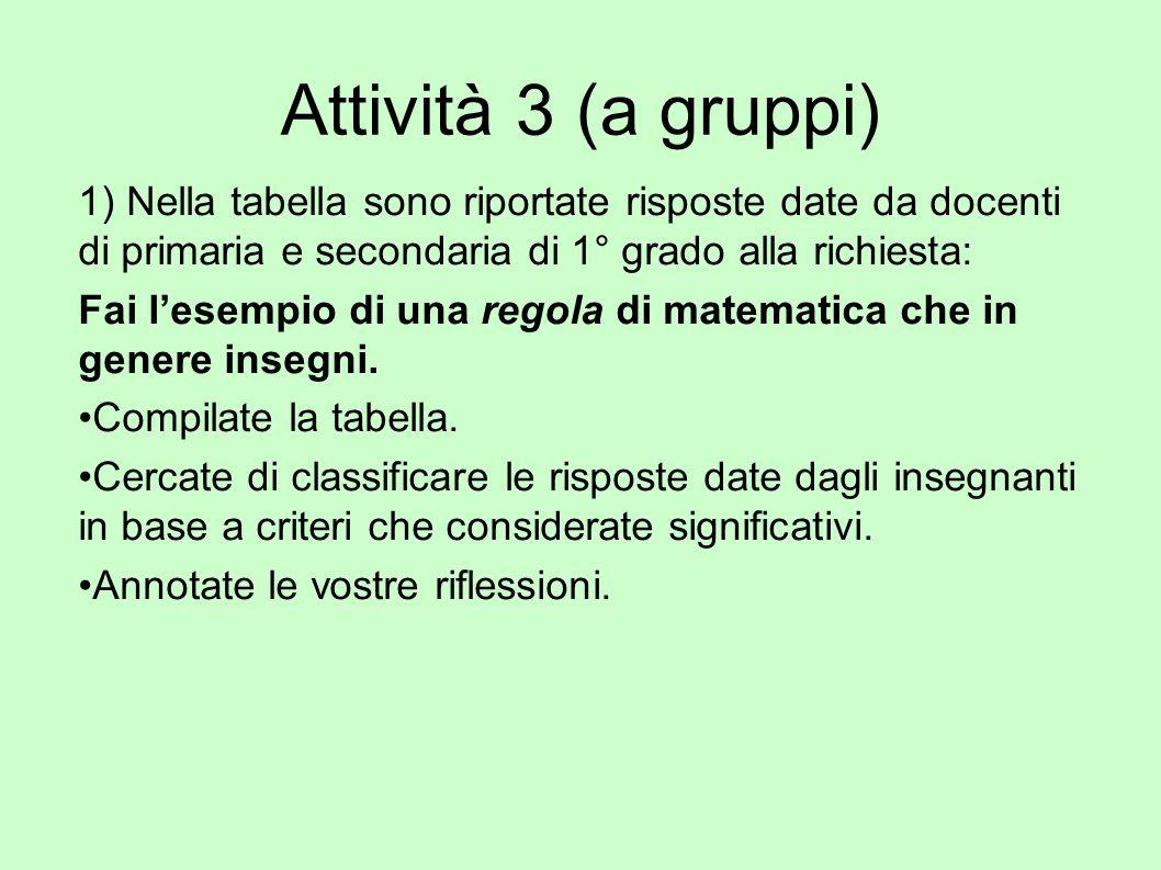 Attività 3 (a gruppi) 1) Nella tabella sono riportate risposte date da docenti di primaria e secondaria di 1° grado alla richiesta: