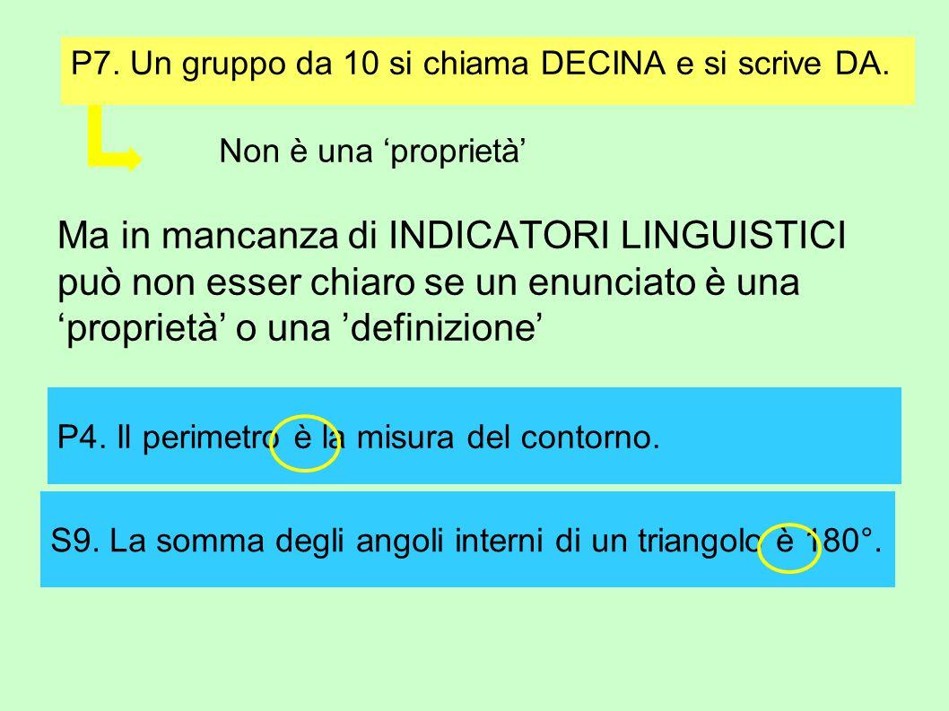 P7. Un gruppo da 10 si chiama DECINA e si scrive DA.