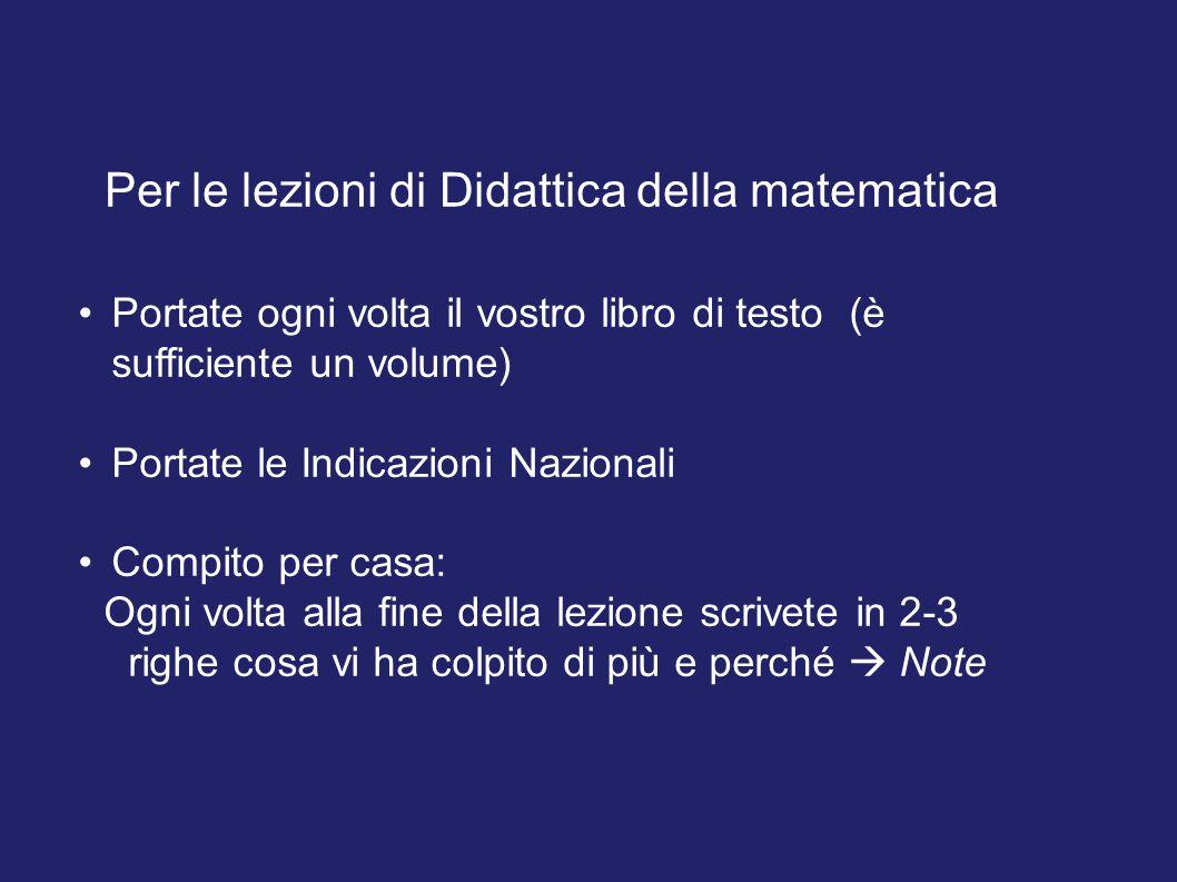 Per le lezioni di Didattica della matematica