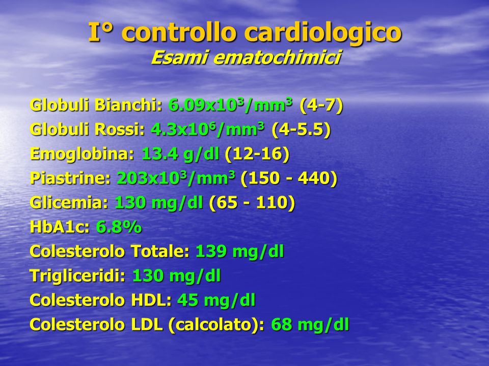 I° controllo cardiologico Esami ematochimici