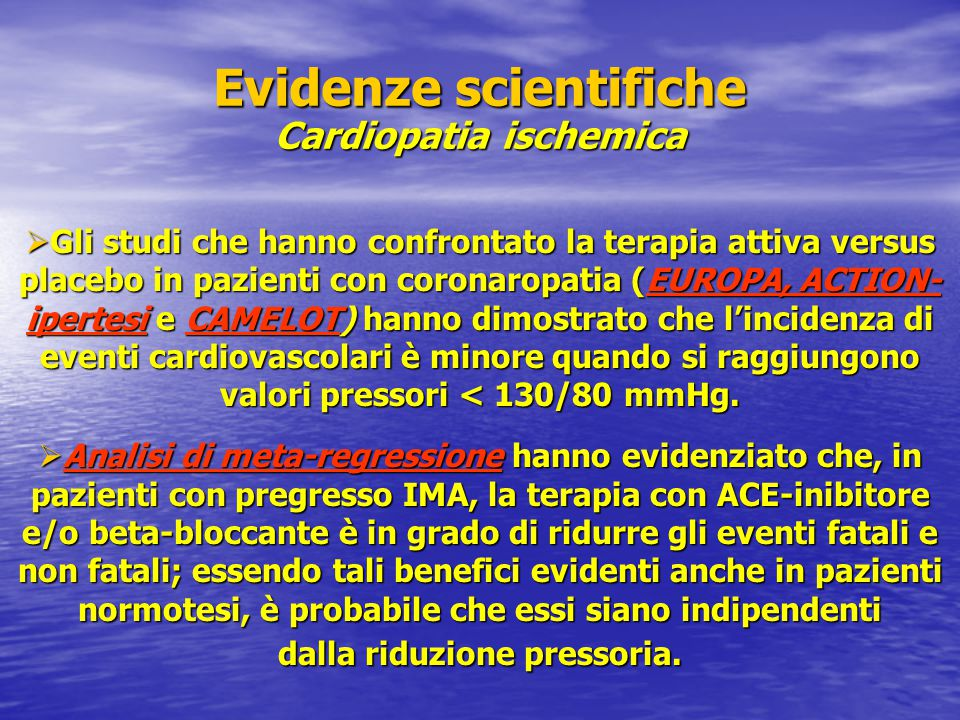 Evidenze scientifiche Cardiopatia ischemica