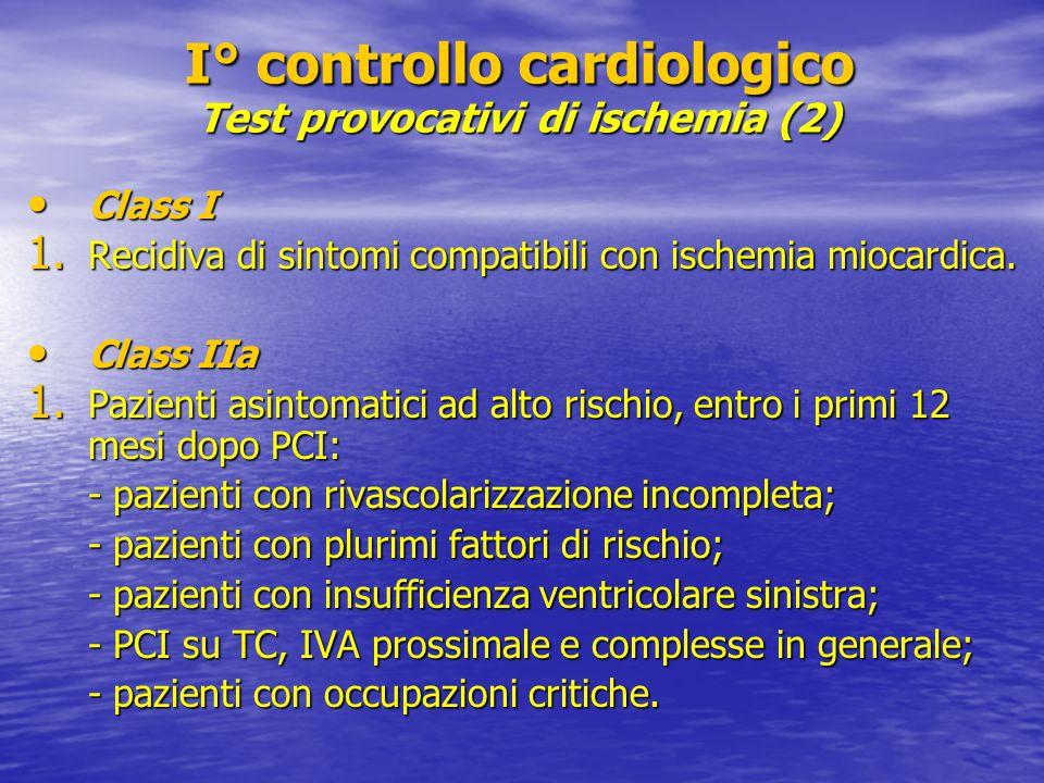 I° controllo cardiologico Test provocativi di ischemia (2)