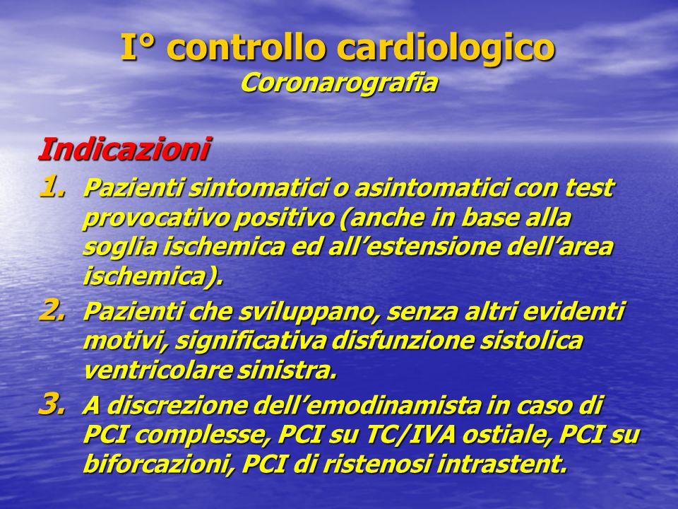 I° controllo cardiologico Coronarografia