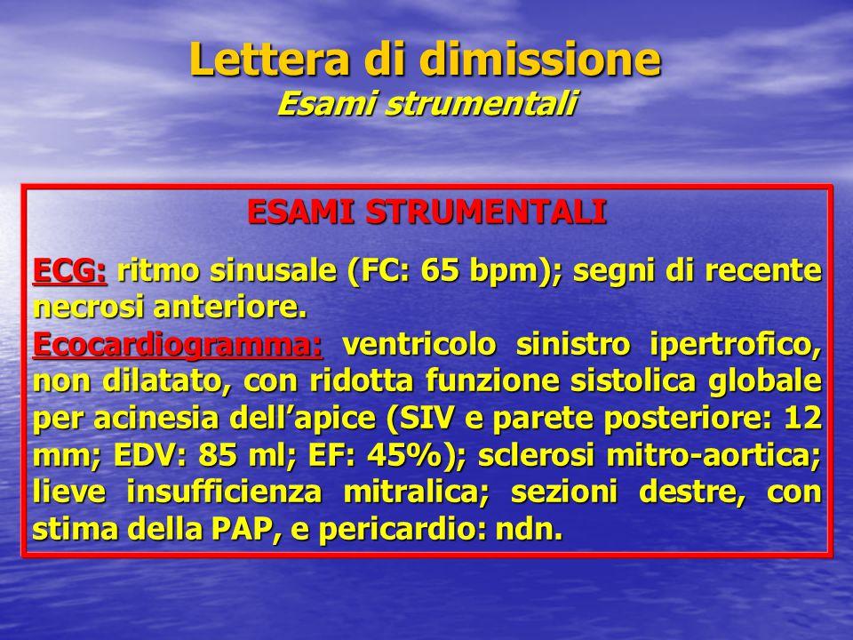 Lettera di dimissione Esami strumentali