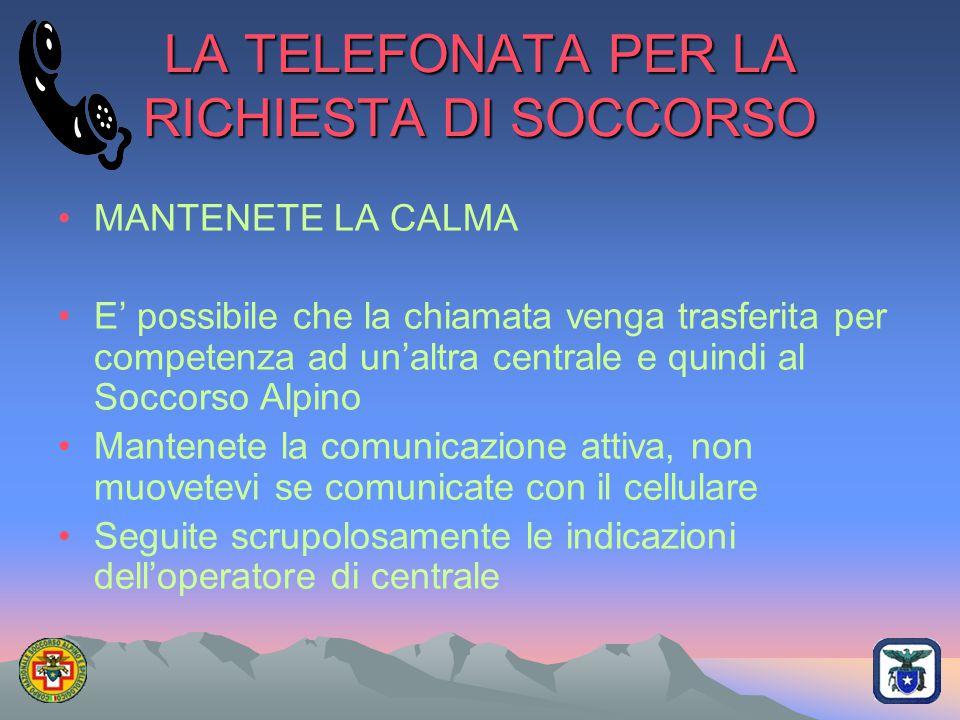 LA TELEFONATA PER LA RICHIESTA DI SOCCORSO