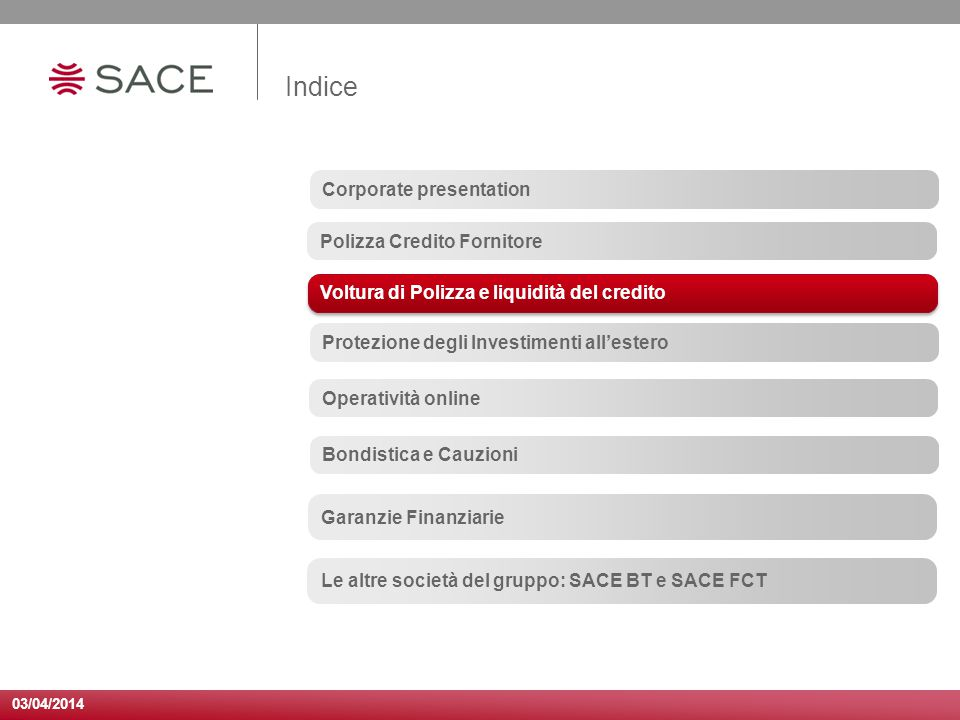 Indice Corporate presentation Polizza Credito Fornitore
