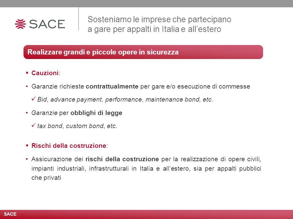 Sosteniamo le imprese che partecipano a gare per appalti in Italia e all'estero