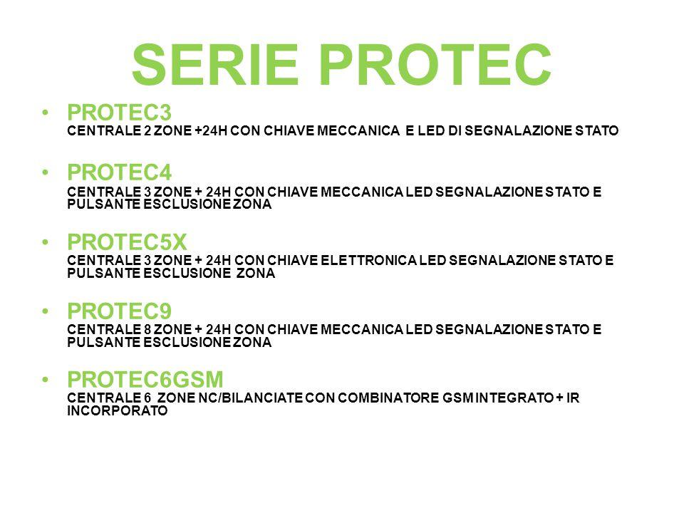 SERIE PROTEC PROTEC3 CENTRALE 2 ZONE +24H CON CHIAVE MECCANICA E LED DI SEGNALAZIONE STATO.